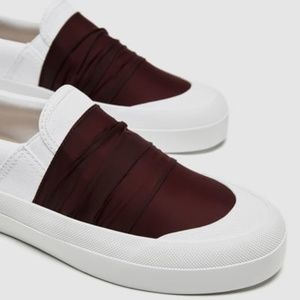 FABRIC SNEAKERS WITH GATHERED